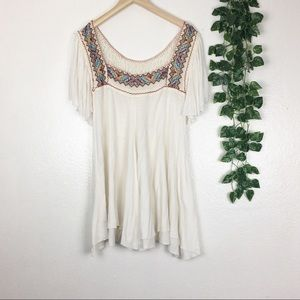 Free People White Embroidered Lace Tunic Dress